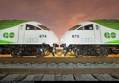 High quality photograph of GO Transit (Greater Toronto Transit Authority) MPI # MPEX 673 at Toronto, Ontario, Canada. Go Transit, Canadian National Railway, Vintage Trains, Ferrari Racing, Electric Train, Train Pictures, Train Journey, Train Travel, Locomotive