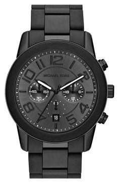 Michael Kors 'Mercer' Chronograph Bracelet Watch, 45mm available at #Nordstrom. All black accessories have been a very common trend recently. This black metal watch paired with a black face creates a subtle and unique piece of jewelry. Alexandra W.