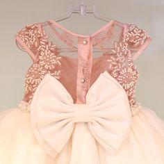 Vestido bordado rosa Via Flora for Girls #renda #pérolas #tule #infantil
