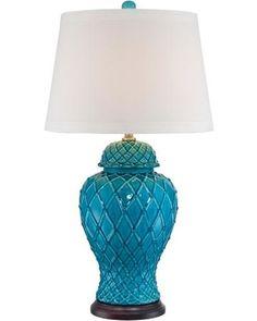 Regency Hill Lavoie Turquoise Trellis Ceramic Table Lamp from Lamps Plus   BHG.com Shop
