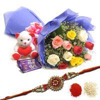 Rakhi Mix Roses and Chocolates To Ranchi