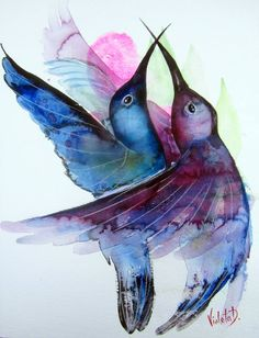 This is an original watercolor of two hummingbirds hovering in mid-air. Painted on high quality Hahnemühle 425 gms watercolor paper, using professional watercolor paints by Schmincke, and. Watercolor Hummingbird, Hummingbird Art, Watercolor Paintings, Watercolor Paper, Acrylic Paintings, Abstract Portrait Painting, Surrealism Painting, Portrait Paintings, Art Paintings