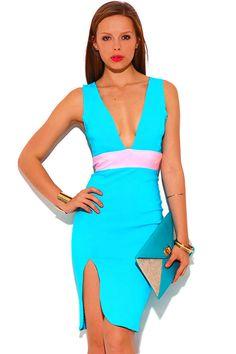 Sexy Light Blue V Neck Dress w/ Pink Color Block Bodycon Form Fitting Clubwear Fitted Midi Dress, Pink Midi Dress, Peplum Dress, Club Outfits, Knee Length Dresses, Fast Fashion, V Neck Dress, Clubwear, Aqua Blue