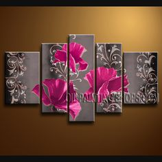 Large Contemporary Wall Art Artist Oil Painting Stretched Ready To Hang Poppy Flower. This 5 panels canvas wall art is hand painted by Bo Yi Art Studio, instock - $175. To see more, visit OilPaintingShops.com