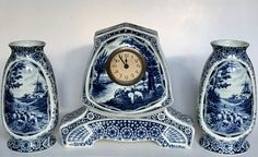 Clock set executed by Societé Céramique Maestricht circa 1910.