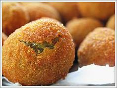Olive all'ascolana - They are olive filled with meat, breaded and deep fried. To die for.