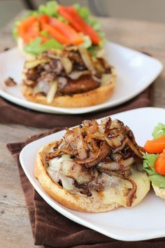 Portabella Mushroom Burgers with Provolone, Caramelized Onions, & Roasted Red Peppers