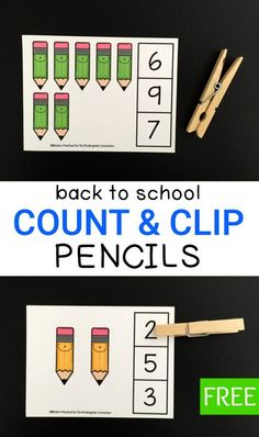 These pencil count and clip cards are perfect for building number sense in preschoolers and kindergarteners. Use them for back to school or anytime! Teaching Numbers, Numbers Preschool, Math Numbers, Preschool Math, Kindergarten Teachers, Math Classroom, Teaching Math, Number Sense Kindergarten, Number Sense Activities