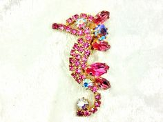 Vintage Tiny Pink Rhinestone Seahorse Brooch by imagiLena on Etsy