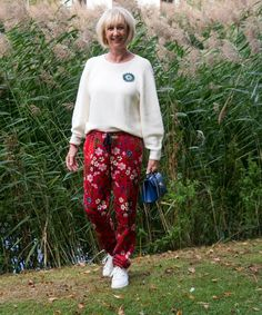 Floral red trousers with side stripe - No Fear of Fashion