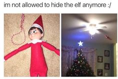 I don't know why but just seeing this Elf on the Shelf riveting through the room on a fan makes me loose my shit.