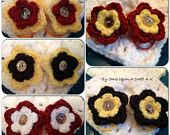 Set of 2 Hand Crochet Flower Hair Ties Cute as a Button Many Color Choices by OnceUponACraft4U on Etsy, $5.00 USD