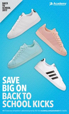 Step up your game with jaw-dropping deals on back to school shoes. From casual styles for hanging around the playground to high performance sneakers for the serious athlete, Academy� Sports + Outdoors has it all.