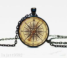 Watch Compass Charm Glass Dome Cabochon Black Chain Necklace Pendant Jewelry (60