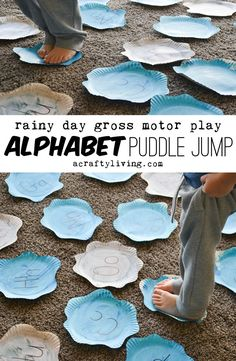 Alphabet Puddle Jump - A Crafty LIVing - - Alphabet Puddle Jump! A fully adaptable rainy day, learning through play activity for Toddlers, Preschoolers AND School Age Kids! Preschool Weather, Preschool Learning, Learning Activities, Teaching Weather, Water Theme Preschool, Learning Games For Preschoolers, Ocean Activities, Movement Activities, Therapy Activities