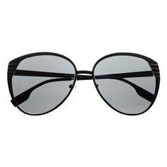 #oversized #large #retro #vintage #designer #fashion #womens #sunglasses #balck #metal #detailed #frame #solid #lens
