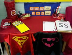 soon to be enhanced with superhero writing tools! Superhero Writing, Superhero Preschool, Superhero Classroom, Preschool Themes, Eyfs Activities, Writing Activities, Classroom Activities, Classroom Ideas, Writing Area