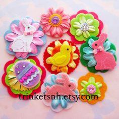 Spring Easter Felt Flower Embellishments with by trinketsnh, $6.75