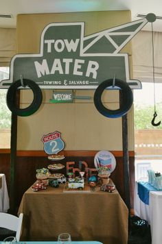 Tow Mater Birthday Party Cake Table