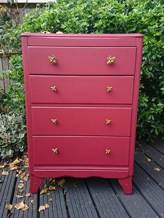 ALREADY SOLD but contact me for possible commissions. Arts & Crafts style chest of drawers with gold bee handles, hand-painted in cranberry. by HoneyBadgerFurniture on Etsy