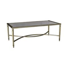 "Hammary Furniture ELIPSE T3001400-00 RECTANGULAR COCKTAIL TABLE gold tone frame with glass 24""X48""X18""H."