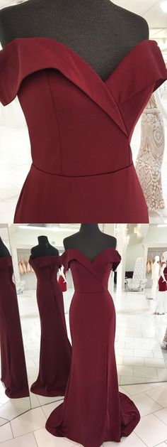 Mermaid Prom Dresses,Burgundy Prom Dresses,Off the Shoulder Simple Formal Dresses,Burgundy Bridesmaid Dresses,#sheergirl #prom