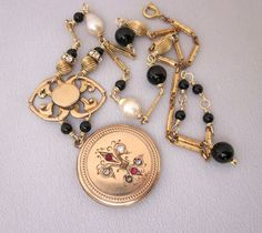 One of a Kind vintage assemblage Victorian locket necklace, black onyx, gold filled and pearls by JryenDesigns.etsy.com