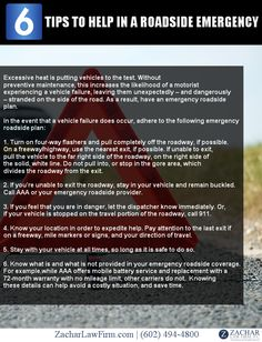 #Infographic 6 Tips To Help You In Case Of A Roadside Emergency.  See Even More Tips: - http://www.zacharlawblog.com/2011/07/phoenix-personal-injury-lawyer-extreme-temps-create-need-for-a-breakdown-plan.html
