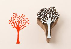 Wood block tree stamp