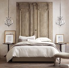 I love this idea. Carved Door Headboard from RH (There are many old doors/shutters that would make a great headboard) Home Bedroom, Master Bedroom, Bedroom Decor, Antique Doors, Old Doors, Headboard From Old Door, Headboards For Beds, Headboard Ideas, My New Room