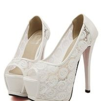 Marketplace · City Looks's Store Admin Lace High Heels, Womens High Heels, Peep Toe Shoes, Shoes Heels, Best Bridal Shoes, Red Bottoms, White Lace, Peeps, Boho