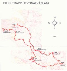 """terkep.gif (840×896) // Pilisi Trapp 40gyalogos   Esztergom v.á. - Orbán-kápolna - Vörös-kereszt - Diós-völgy - Csurgó-berek - Barát-kút - Ráró-kút - Háromszázgarádics - Fekete-hegyi """"Sasfészek"""" túristaház - Fekete-hegy - Pilis-nyereg - Hunfalvy-út - Kétbükkfa-nyereg - Dobogókő - Rezső-kilátó - Jász-hegy - Téry-út - Szakó-nyereg (Ilona-pihenő) - Hoffmann-kút - Felső-Ecset-hegy - Ráró-hegy - Som-kerülő - István-hegy - Béla-tető - Enyedi-halála - Maróti-hegyek - Fári-kút - Vaskapu túristaház"""