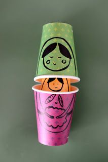 Matrioska no copo de Papel * Russian Dolls in paper cups