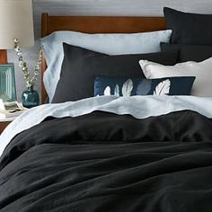 Belgian Linen Duvet Cover + Shams - Black