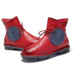 Phoenix Pattern Comfortable Lace Up Leather Vintage Zipper Ankle Boots