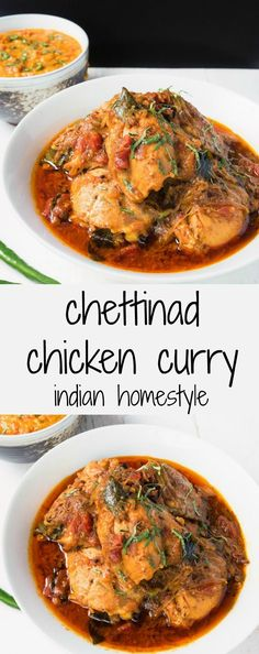 Chettinad chicken curry is a South Indian dish loaded with coconut, spices and curry leaves. 406 cal, protein in recipe Indian Food Recipes, Asian Recipes, Ethnic Recipes, Fried Fish Recipes, Chicken Recipes, Chicken Meals, Chettinad Chicken, Indian Cookbook, Tandoori Masala