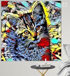 wunderbar modifizierte Tiere bunt und einzigartig Bunt, Illustration, Kitten, Germany, Painting, Animals, Color, Canvas Frame, Printing On Wood