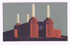 Assiette Design, Graphic Design Illustration, Illustration Art, Battersea Power Station, Art Deco Stil, London Architecture, London Photography, Art Graphique, Dieselpunk