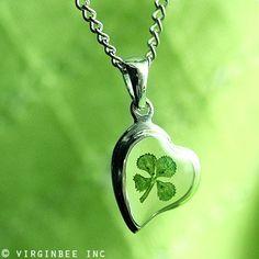 REAL CLOVER 4-LEAF SHAMROCK HEART IRISH LUCK CELTIC SILVER PENDANT NECKLACE GIFT