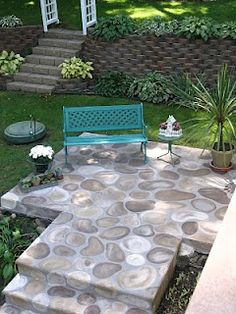 Concrete Patio Steps Faux Stone 52 New Ideas Concrete Patios, Concrete Slab, Cement Floors, Stone Patios, Concrete Sealer, Cement Patio, Patio Steps, Backyard Patio, Backyard Landscaping