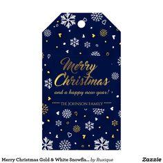 Merry Christmas Gold & White Snowflakes Elegant Gift Tags #Christmas #Gold #Snowflakes #Elegant #GiftTag