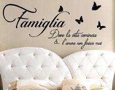 ADESIVI Murali Famiglia Dove La Vita Comincia Frase Adesivo Wall Stickers Frasi - EUR 15,60. Adesivo Murale Frase Citazione stickerdesign - Codice Art. 60085 172515253361
