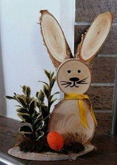 Симпатичные деревянные фигурки😊 | OK.RU Wood Log Crafts, Wood Slice Crafts, Concrete Crafts, Bunny Crafts, Easter Crafts, Easter Art, Easter Garden, Spring Crafts, Holiday Crafts