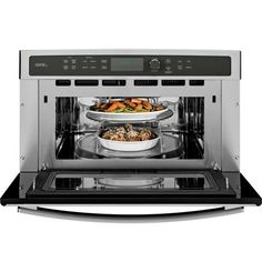 GE Profile 30 in. Wall Oven with Advantium eliminates the need for pre-heating with an instantaneous halogen heat light.