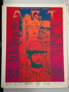 Artist's Rights Today Jerry Garcia Band Poster - This is one of a series of four Artist Rights Today posters that was produced for shows from 1986 to 1989. Artists Rights Today, or A.R.T., was a short-lived project to try to legally acquire the copyrights that many poster artists had signed away in the sixties. Among others, they wanted back the rights to the old Avalon Ballroom and Family Dog dance-hall posters. The artwork was sent around to each participating artist and is considered a…