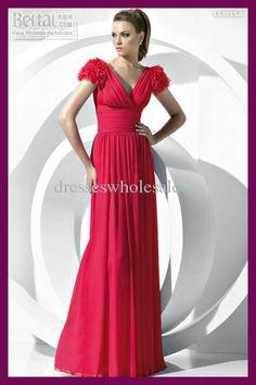 Red Chiffon Short Sleeves Evening Dresses