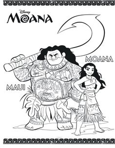 Moana and Maui Coloring - Paginas para imprimir y colorear| Moana Printable coloring Pages