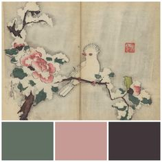 Oldest book | Crested white bird on snow-laden camellia branch. Colours: ***Green Smoke***, Cinder Rose, Mahogany all by Farrow & Ball