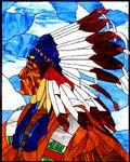 """Plains Chief"" by Jessica Boradori Custom Stained Glass, Stained Glass Crafts, Stained Glass Panels, Stained Glass Patterns, Native American Patterns, Native American Indians, Earthy Decor, Large Stencils, Barn Art"