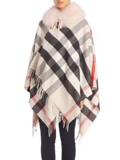 BURBERRY Check Cashmere-Lined Fox Fur Collar. #burberry #collar